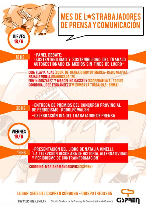 d364e6b16f16 Este jueves y viernes se vienen de lo más movido en el sindicato de Prensa y  Comunicación de Córdoba  el jueves lxs trabajadores de prensa realizaremos  un ...