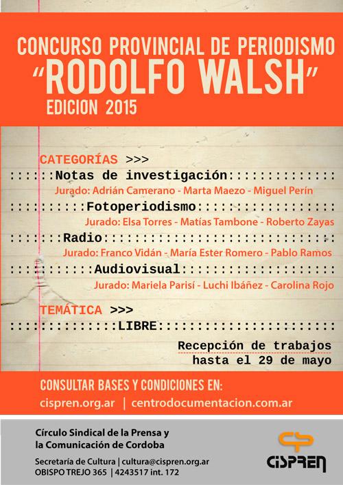 Hasta el viernes 29/5: convocatoria abierta para el concurso de periodismo «Rodolfo Walsh»