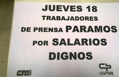 Paritarias: los Trabajadores de Prensa vamos al PARO por 24 hs. el jueves 18 de junio