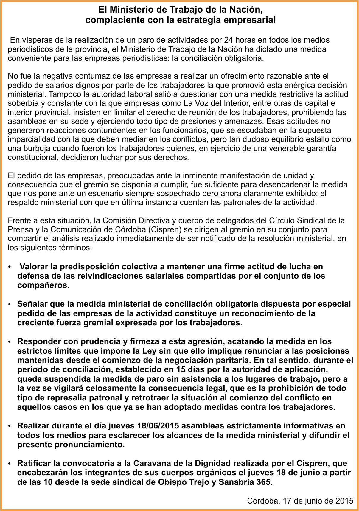Paritarias Prensa | El Ministerio de Trabajo de la Nación, complaciente con la estrategia empresarial, dictó conciliación obligatoria