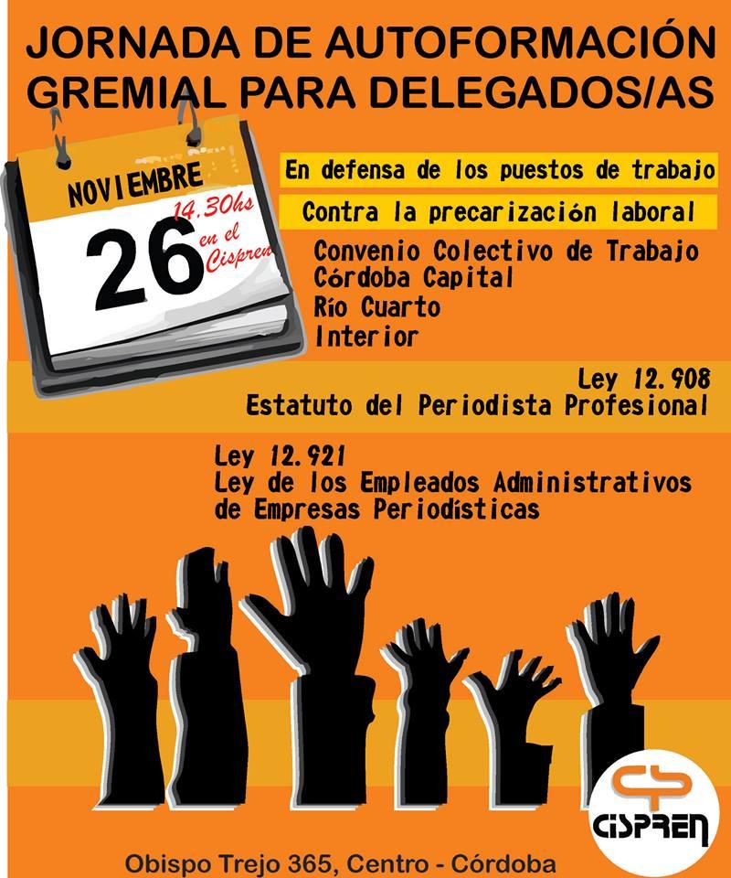 Jornada de autoformación gremial para delegadxs de la provincia de Córdoba.
