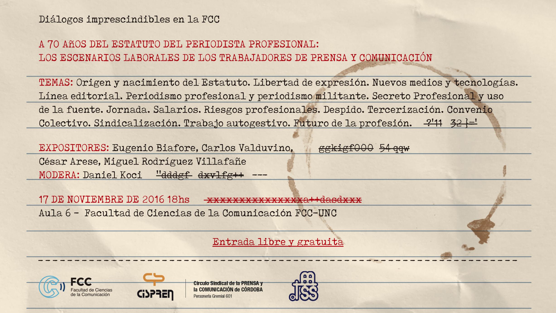Charla en la FCC | A 70 AÑOS DEL ESTATUTO DEL PERIODISTA PROFESIONAL: LOS ESCENARIO LABORALES DE LOS TRABAJADORES  DE PRENSA Y COMUNICACIÓN