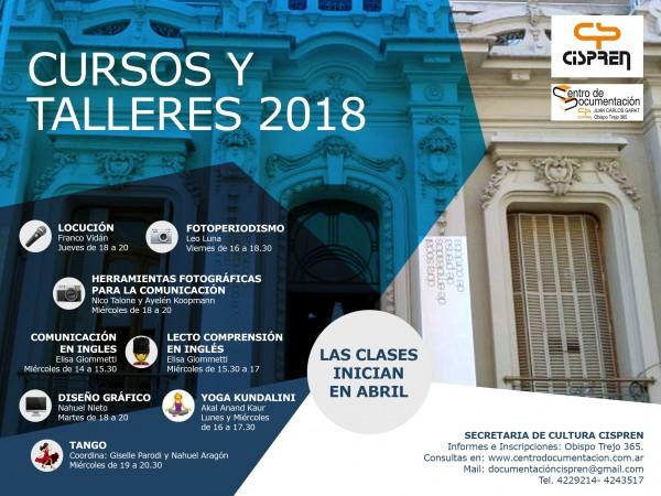 INSCRIPCIONES ABIERTAS PARA CURSOS Y TALLERES 2018 DEL CISPREN