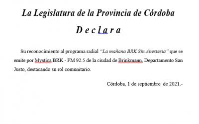 La Legislatura reconoció al programa radial «La mañana BRK Sin Anestesia»